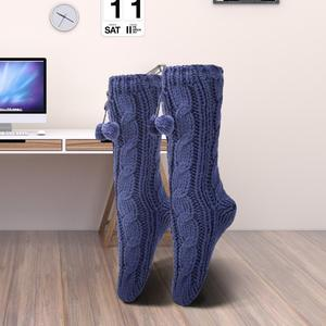 Skinfullysweet novo longo casa piso meias chinelo casa inverno quente fuzzy anti-skid forrado piso interior chinelo meias