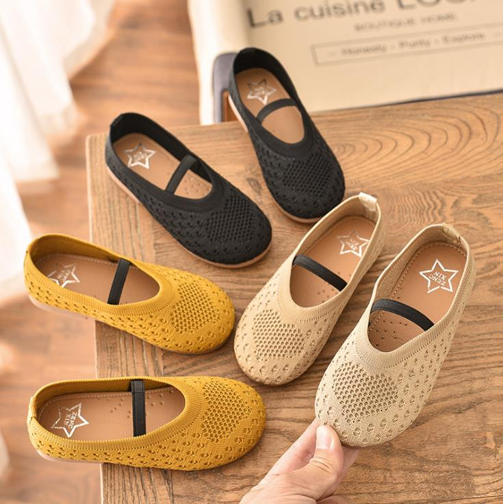 2020 New Children Girls Kittens Elastic Band Princess Shoes Flat Casual Hollow Out Shoes 3colors 21-30 20202 TX07