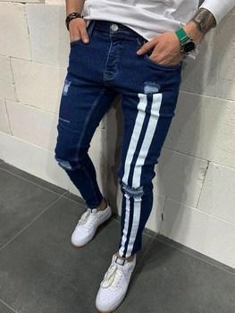Jeans Men Skinny Striped Zipper Denim Vintage Hip Hop  2