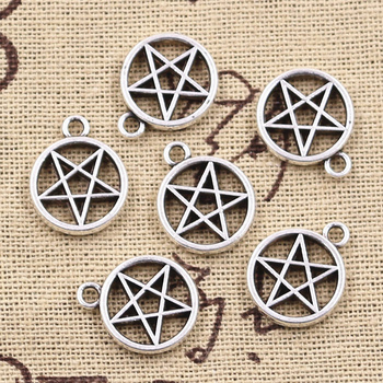 10pcs Charms Star Pentagram 17x14mm Antique Silver Color Plated Pendants Making DIY Handmade Tibetan Finding Jewelry antique silver te tra gram ma ton star pendants wizard necklace