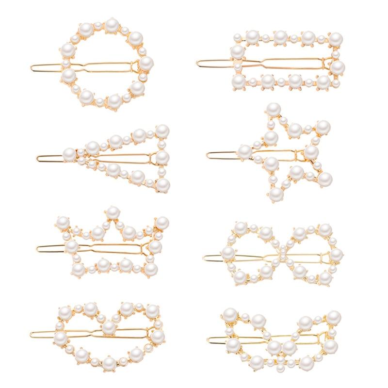2019 Korean Pearl Barrettes Beaded Geometric Women   Headwear   Hair Clip Hairgrips Hair Accessories Girls Jewelry Fashion Hair Pins
