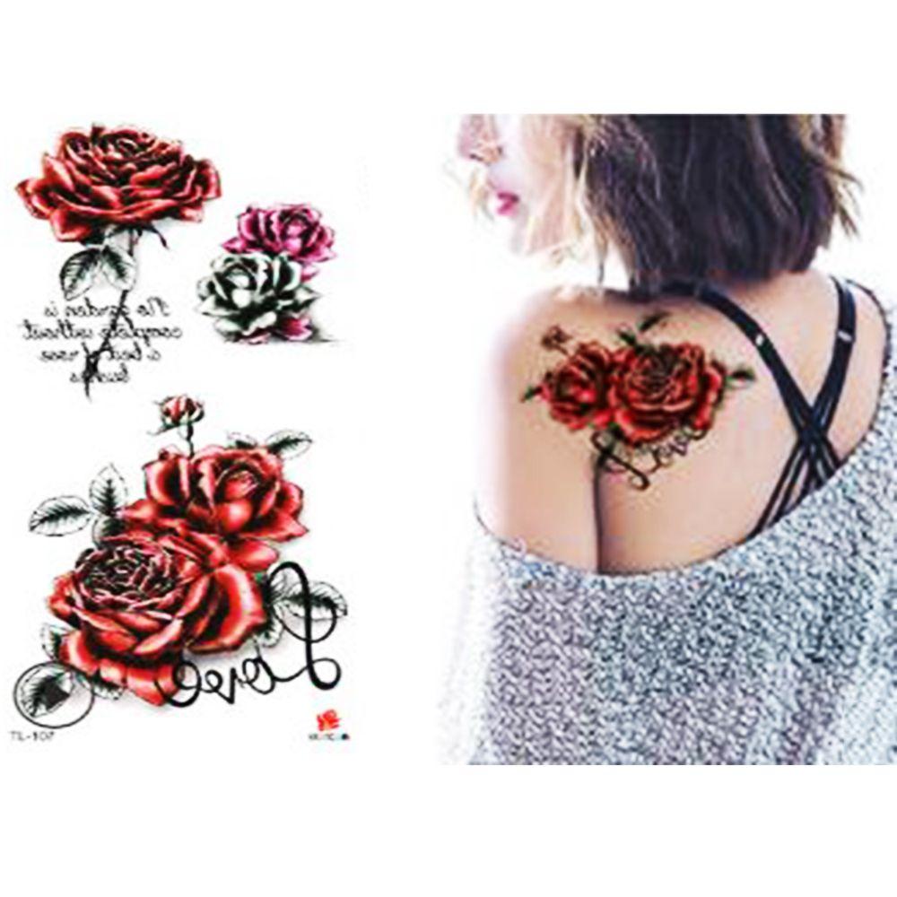 2020 3D Lifelike Rose Flower Sex Waterproof Temporary Tattoos Women Flash Tattoo Arm Shoulder Big Flowers Stickers