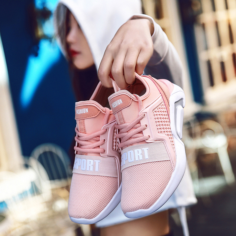 2018 Women's Sneakers Spring Breathable Sport Shoes Lace-up Outdoor Woman Running Pink Shoe Lightweight Size 35-40 YC-112