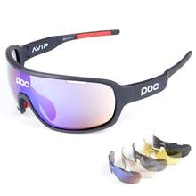 POC Men Women 5 Lens Cycling Sunglasses Sports Polarized Glasses Mountain Road Bike MTB TR90 Eyewear Windproof UV400 Goggles