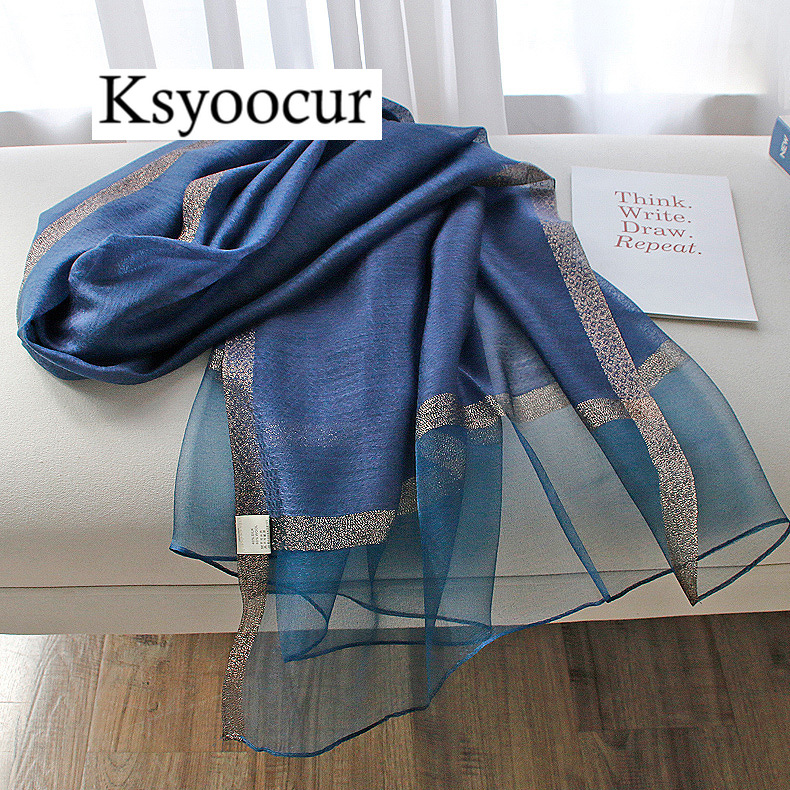 Size 200*70cm 2020 New Silk Scarves Beach Towel Scarf Female Four Seasons Shawls And Scarves Women Scarf Brand Ksyoocur E03