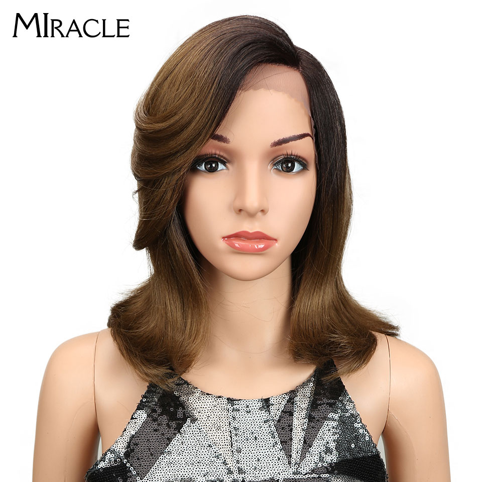 Miracle Straight Synthetic Hair Lace Front 13 4 L Part Bob Wigs 14 Wigs for Black