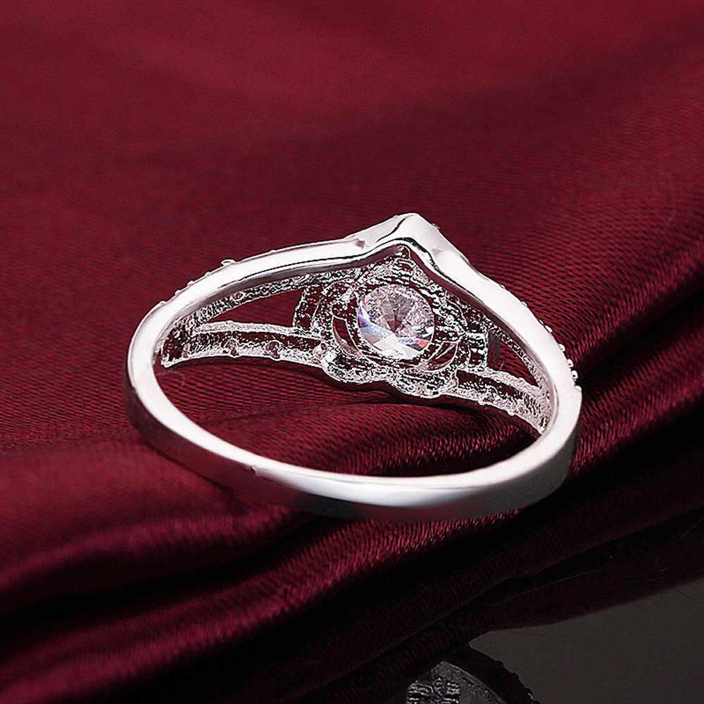 Sliver แหวนรูปหัวใจหรูหรา CZ แหวนหินสำหรับผู้หญิงงานแต่งงานเจ้าสาวแหวนรูปหัวใจ Love freeshipping เครื่องประดับ dropship