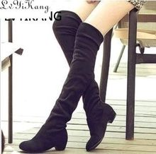 2019 Slim Boots Sexy Over The Knee High Suede Women Snow Boots Women Fashion Winter Thigh High Boots Shoes Woman Botas Mujer(China)