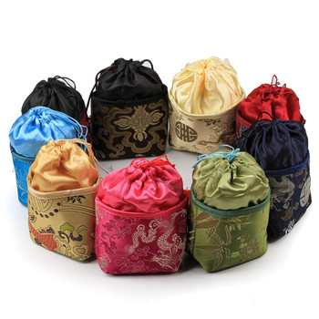 Portable Patchwork Gift Bags for Jewelry Pouch Drawstring Crafts Packaging Empty Silk Cloth Tea Bags Coin Purse 10pcs/lot