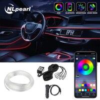 Nlpearl-tira de luz LED decorativa para Interior de coche, cable EL Flexible, RGB, con aplicación de Control, lámpara de Ambiente, luz de neón