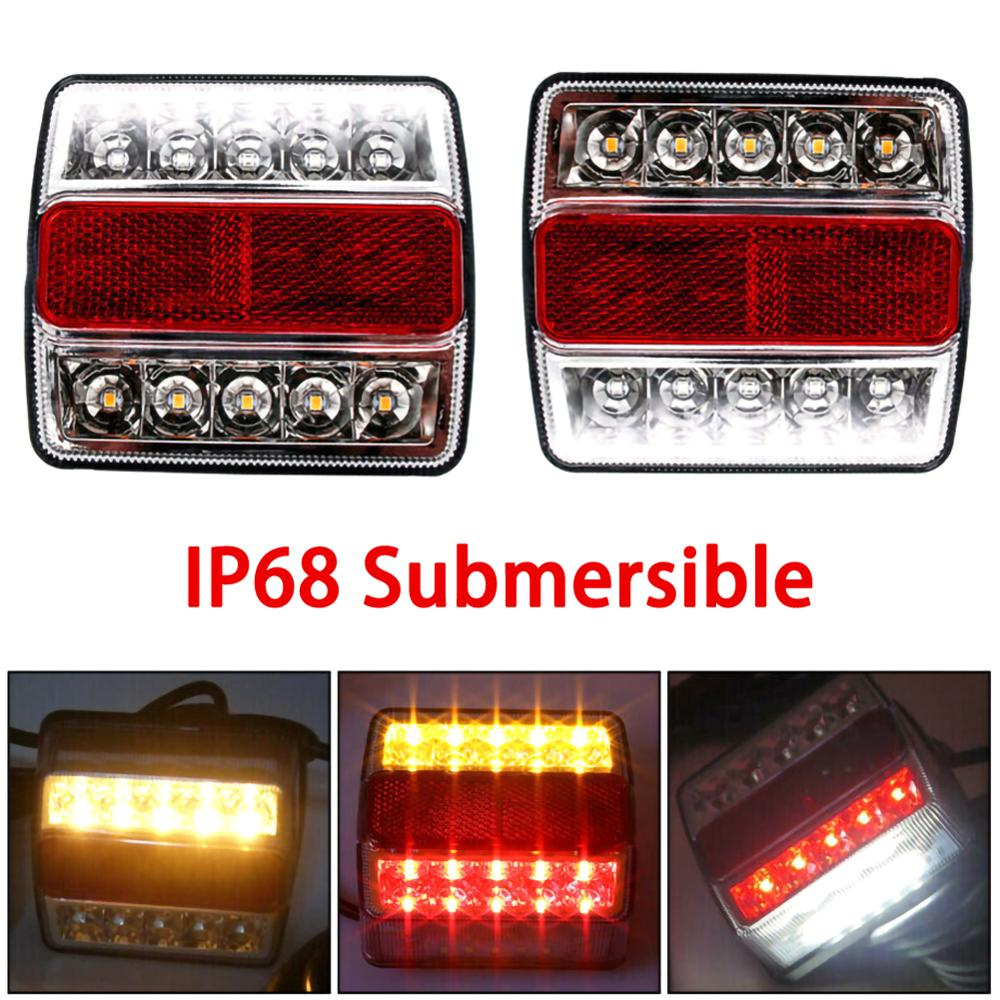 2Pcs Rear LED Submersible Trailer Tail Lights Kit Boat Marker Truck Waterproof Universal 12V 15LED Campers Trailer Taillights