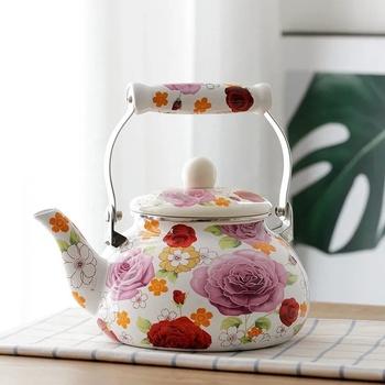 Emalia czajnik 1 8L2 5L wrząca woda czajnik ekspres do kawy herbata Kung Fu czajnik gorące mleko czajnik czajnik czajnik herbata gwizdki tanie i dobre opinie CN (pochodzenie) Z emalią ceramiczną Ekologiczne CE UE b200