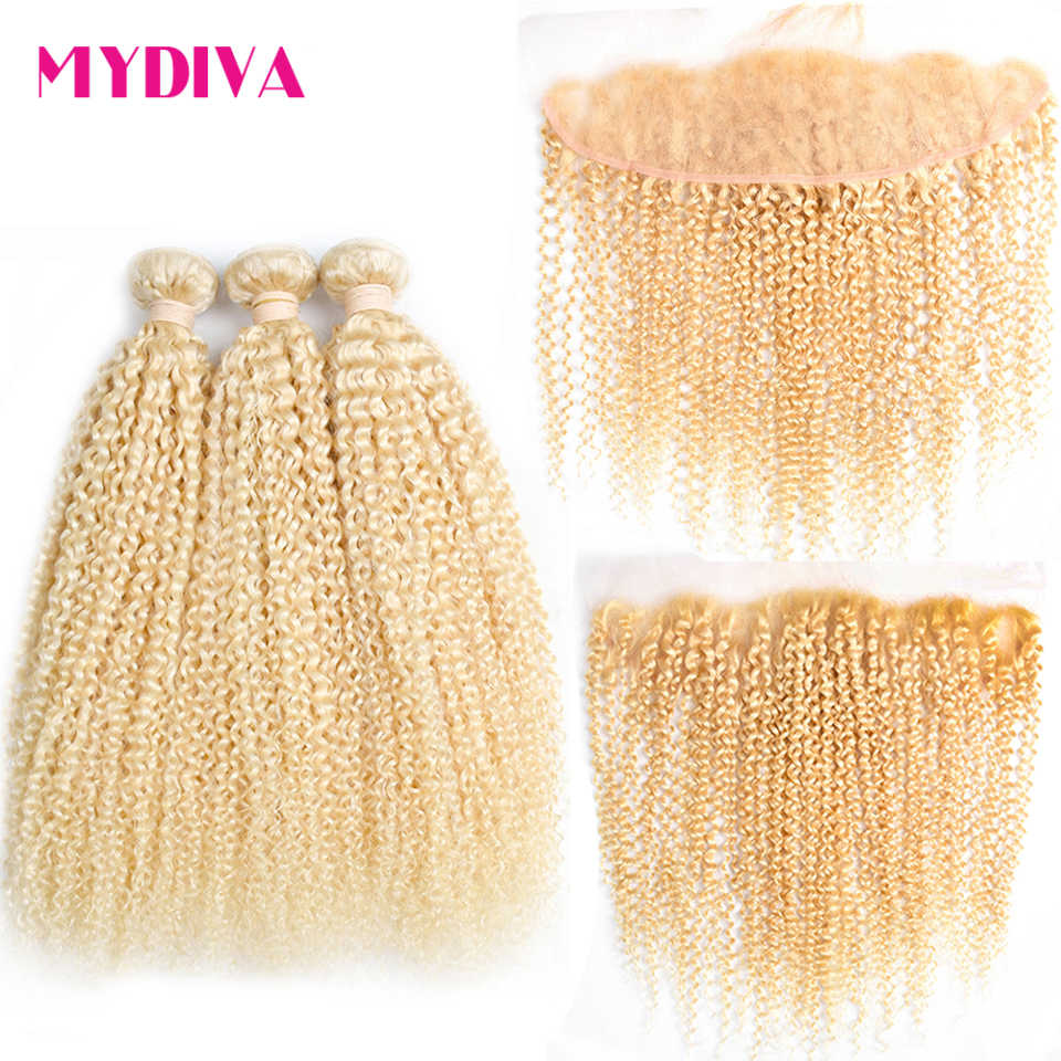 Kinky Curly 613 Blonde Bundles With Frontal Closure Brazilian Human Hair Weave Bundles With Frontal Hair Extension Remy Mydiva