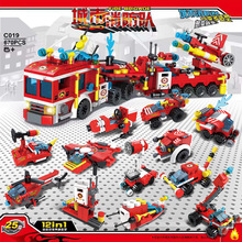 city fire building blocks sets firefighter urban helicopter 8 in 1 bricks toys for children christmas gifts 670pc 12in1 LegoTtechnic City Fire Fighting Trucks Building Blocks City Engine Helicopter Model Bricks Kit Toys For Children Toy