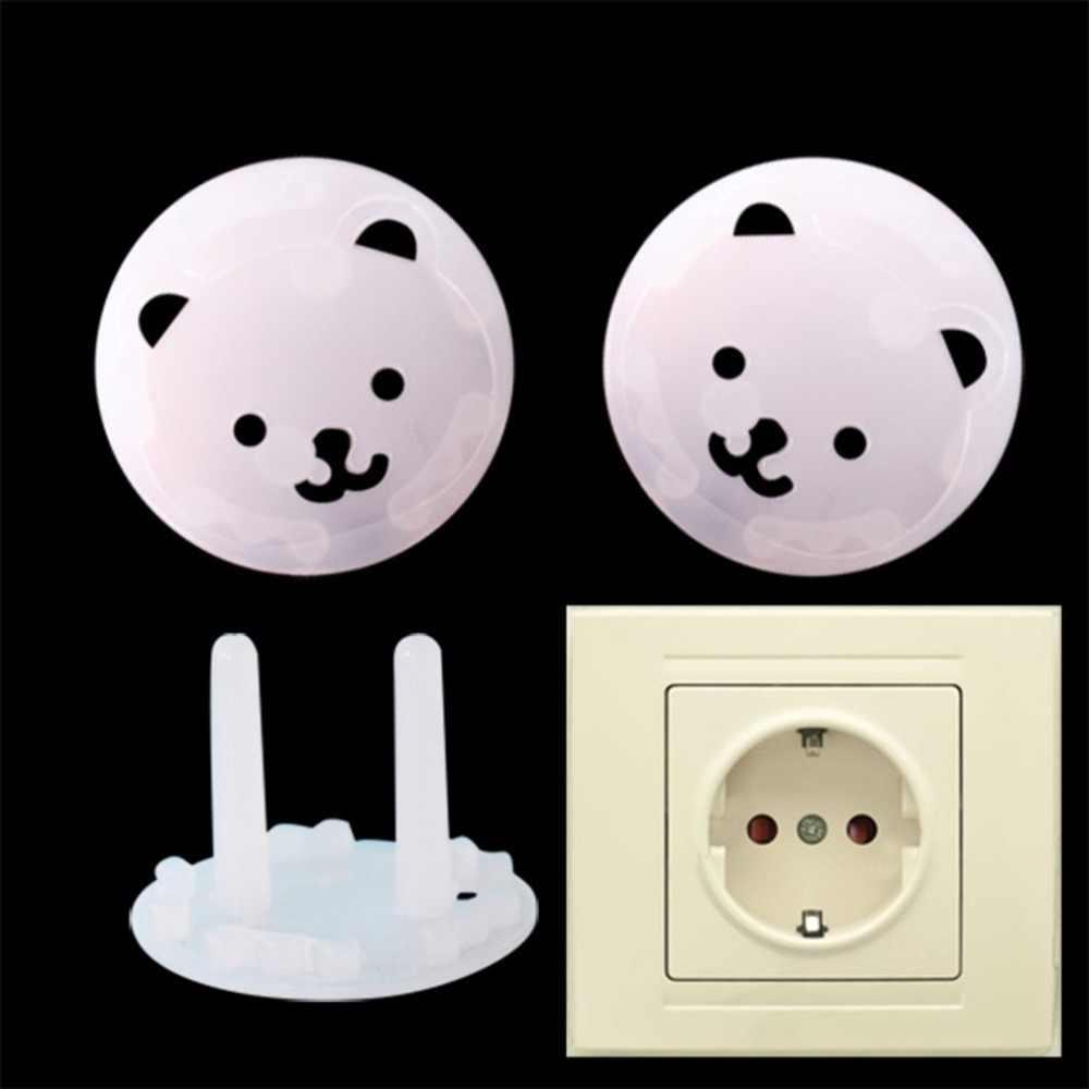 La UE enchufe niños Oso de dibujos animados ronda espesar hembra del bebé cubierta Anti-Shock eléctrico cubierta de protección