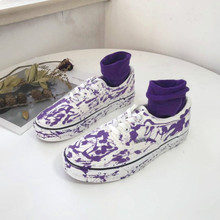 2019 new Street lovers canvas shoes men ins Harajuku low help students purple splash ink white Womens Vulcanize Yasilaiya