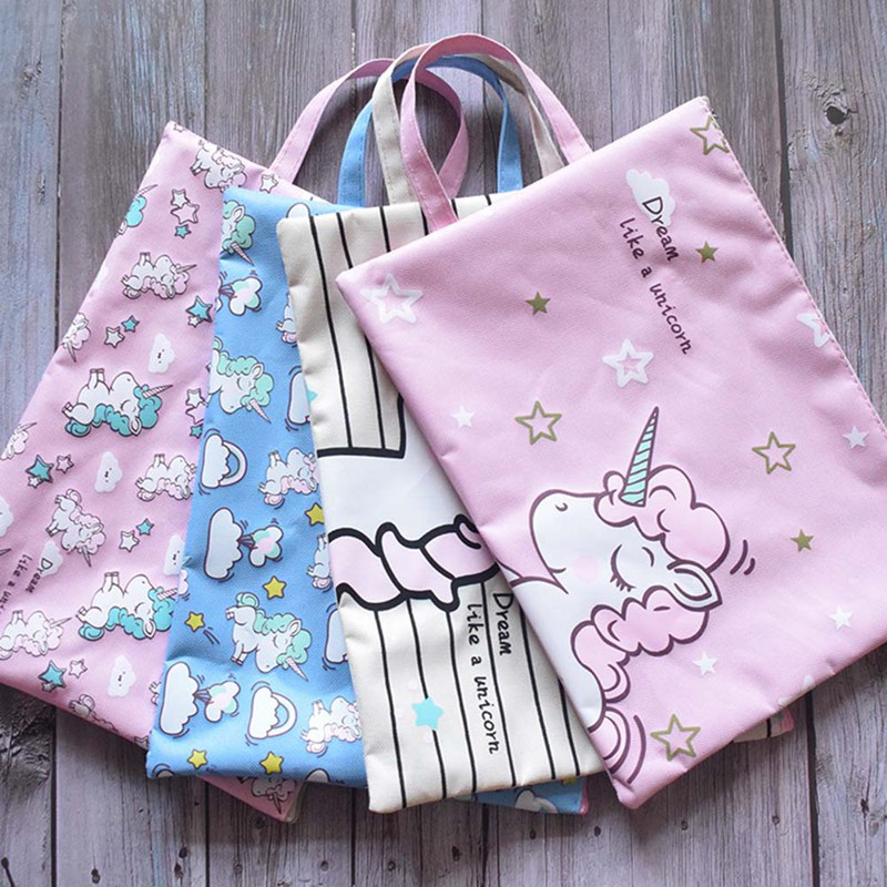 4pcs/set New Cute Cartoon Unicorn Colorful File Bag A4 Document Bag File Folder Stationery Filing Product School Office Supply