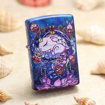 Genuine Zippo oil lighter copper 12 Chinese Zodiacs Rabbit cigarette Kerosene lighters Gift With anti-counterfeiting code