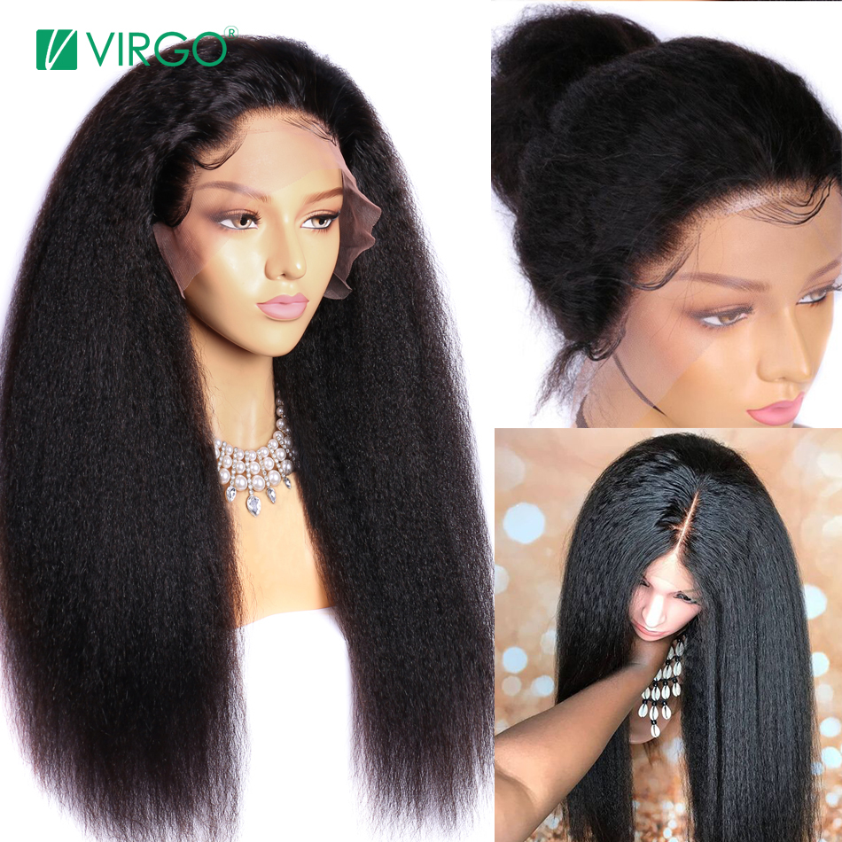 Virgo Hair Kinky Straight Wig Glueless Brazilian Lace Front Human Hair Wigs For Black Women Pre Plucked 13x4 Remy Yaki Wig 150%