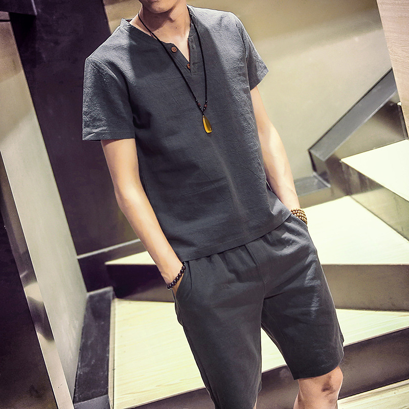 2018 Summer MEN'S Short-sleeved Shorts Cotton Linen Set Men's Flax Slim Fit T-shirt Two-Button