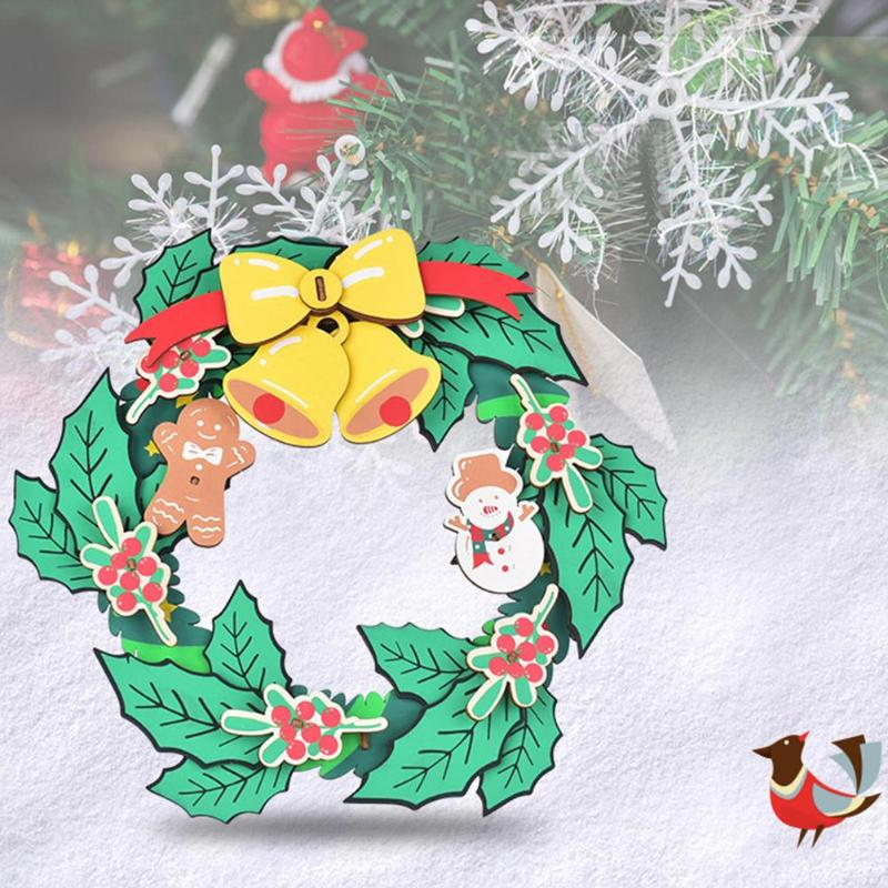 DIY 3D Christmas Garland Wooden Toy Kids Assembly Kits Xmas New Year Ornament Exercise Practical Ability Color Cognition