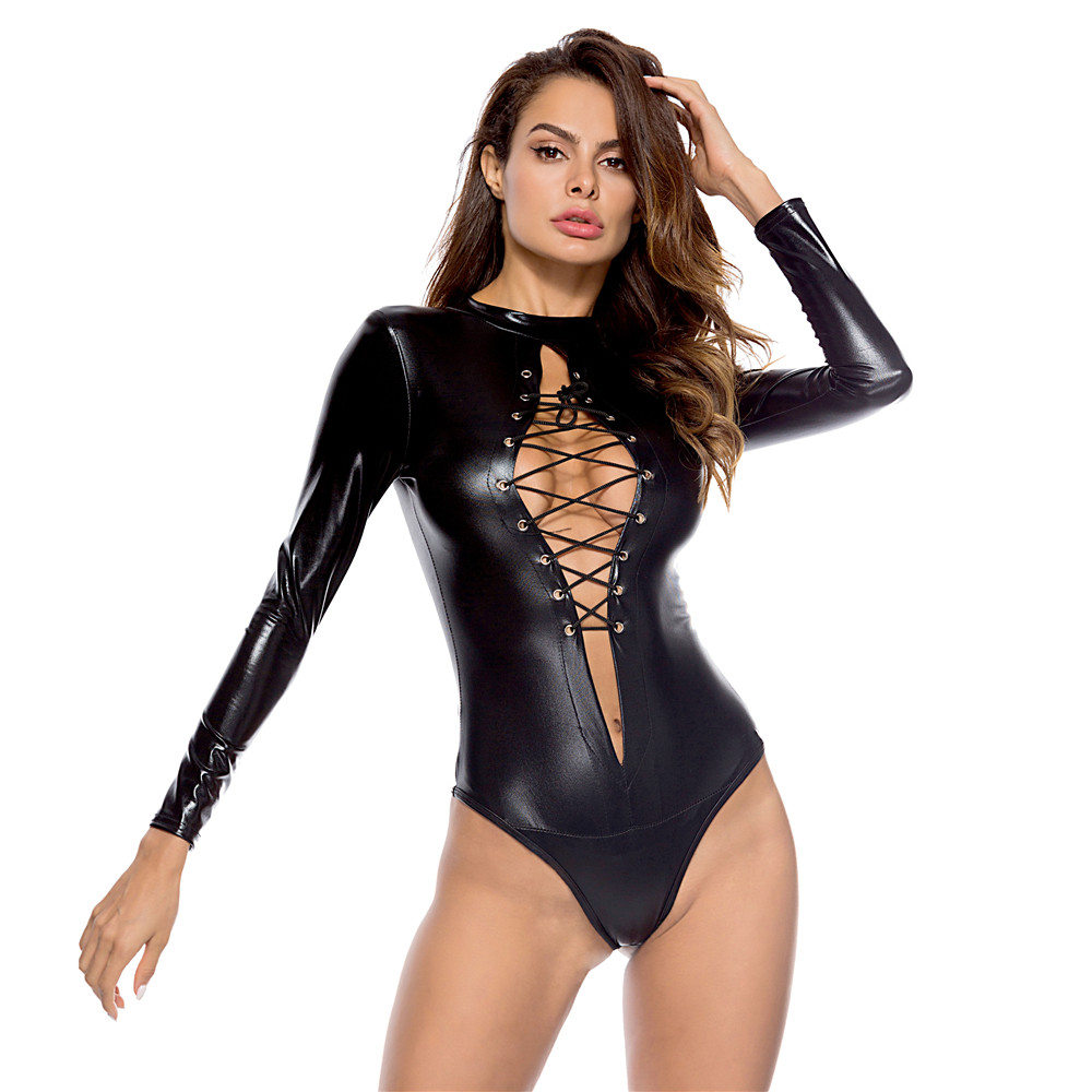 Plus Size Porno Babydoll Women's Sexy Leather Bodysuit Hollow Out Bandage Sexy Lingerie Erotic Underwear Hot Nightclub Costumes