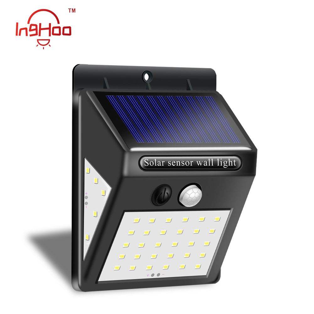 Inghoo 40LED Solar Lamp Waterproof Motion Sensor 3 Modes  Wall Lamp For Front Door Back Yard