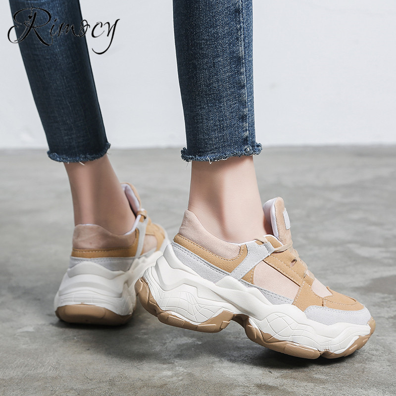 Rimocy 2019 autumn casual shoes woman lace up round toe vulcanize shoes platform sneakers student 5cm bottom comfortable flats