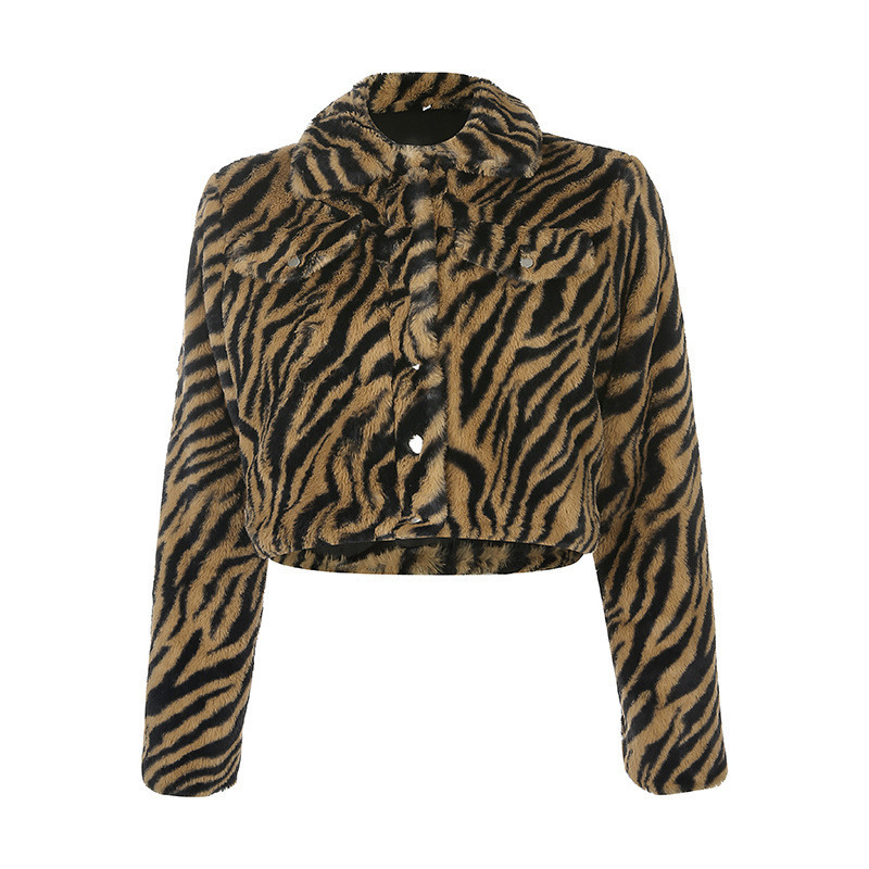 Focal20 Streetwear Tiger Printed Fluzzy Women Crop Coat Turn Down Collar Button Female Jackets Outer Warm Winter Lady Coats Tops 1