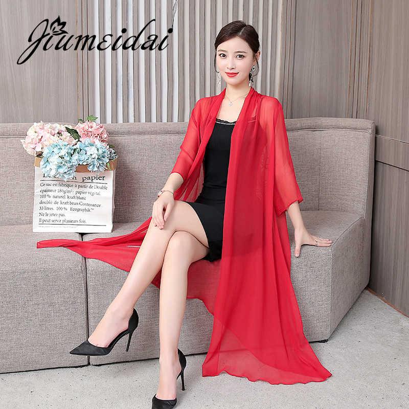 JiuMeiDai женское повседневное винтажное Кимоно Кардиган для девушек 2020 летнее шифоновое свободное однотонное пальто Женская длинная одежда с вышивкой сзади