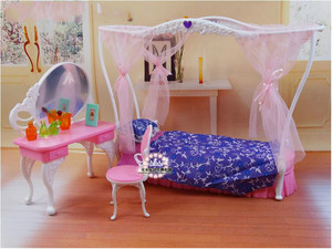 Image 3 - genuine for princess barbie beds Kurhn dolls accessories 1/6 bjd doll bed table bedroom furniture dream house set child toy gift