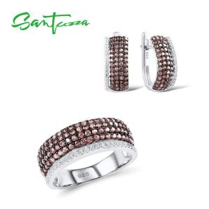 SANTUZZA Jewelry Set For Woman Chocolate White CZ Stones Jewelry Set Earrings Ring 925 Sterling Silver Fashion Fine Jewelry