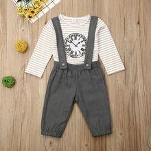 Emmabue 2 piezas ropa para niñas y bebés a rayas camiseta Tops + Pantalones de babero conjunto de trajes
