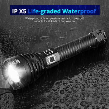 EZK20 Dropshipping XHP90 LED Flashlight Zoom USB Rechargeable Power Display Powerful Torch 18650 26650 Handheld Light 5