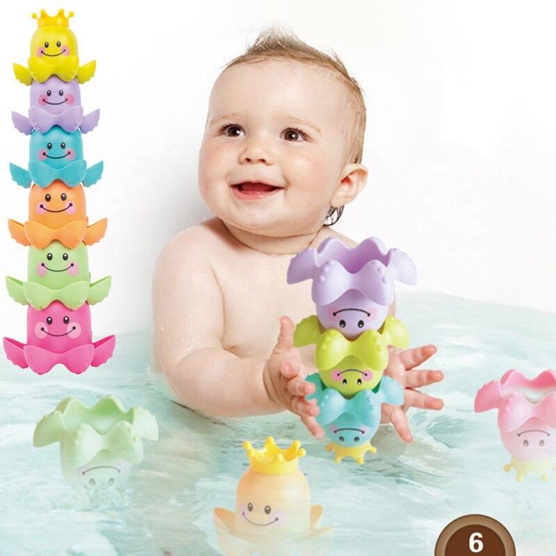 3Pcs/Set Kids Ocean Life Octopus Stacking Cups Bath Toy Children Play Educational Cute Cartoon Bathroom Kids Beach Bath Toys
