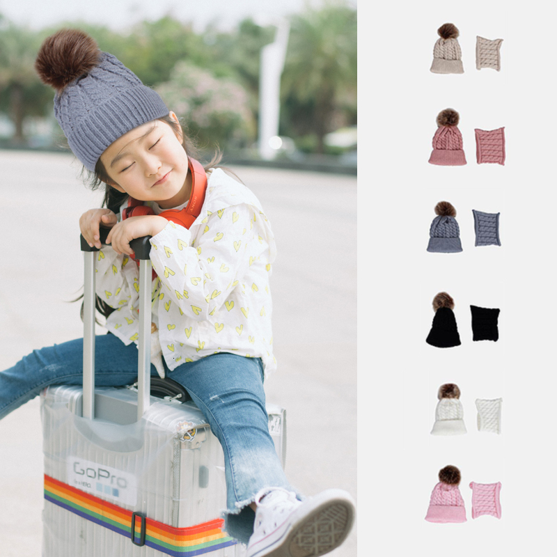 JETU 2019 Children's Set 2 Ps Boys And Girls Warm Pompom  Solid Color Scarf 0-6 Years Old Winter Kids Knit Hat