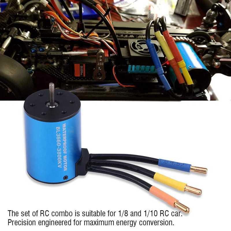 Moteur sans brosse sans capteur 3660 3800Kv avec carte de programmation Esc et Led 60A pour voiture de rallye 1/10 Rc