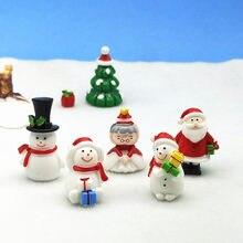 5pc Papai Noel Boneco de Natal Estatueta Modelo Bonsai Jardim De Fadas Acessórios de Decoração Para Casa De Vidro Decoração DIY Artesanato Em Miniatura