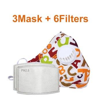 3 PCS Del Fumetto PM2.5 Bambini Maschera Maschera Con 6 Filtri Respiro Bocca Valvola Viso Maschera Per Bambini Lavabile Maschera Maschera di Polvere a prova di sterile In Magazzino 10
