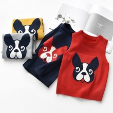 knitting thin vest for children cute dog pattern children's vest fashion baby vest for the girl casual kids vest for the boy цена и фото