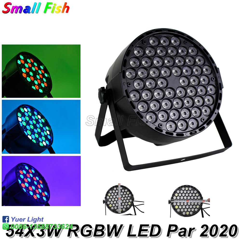 2020 Free Shipping LED Flat Par 54X3W RGBW 4 Colors DMX Par Cans Disco Light Stage Wash Effect Lighting Laser Projector Dj Light