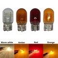 1 шт. автомобиль галогенная лампа T20 7440 7443 12v w21/5 Вт, теплый белый свет, желтый красный лампы стоп сигнала Хвост светильник единый светильник з...