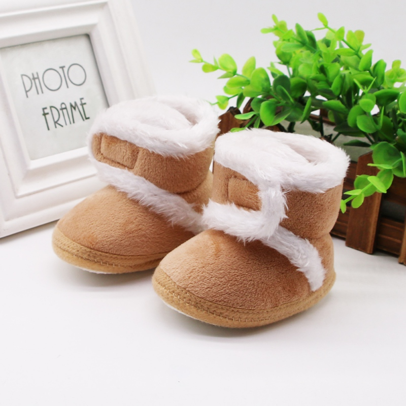 Warm Newborn Toddler Boots Winter First Walkers baby Girls Boys Shoes Soft Sole Fur Snow Booties for 0-18M image