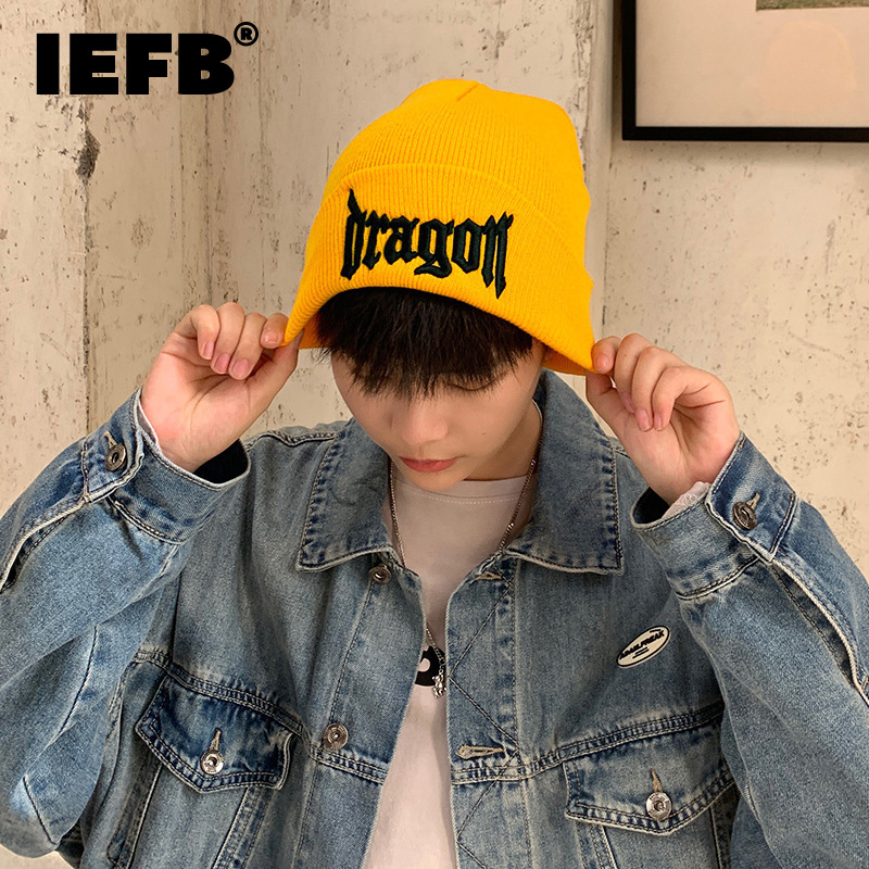 IEFB Korean Style Fashion Chic Letter Embroidery Hat Men's And Women's New Outdoor Keep Warm Cold Hats Tide Autumn Winter 2021