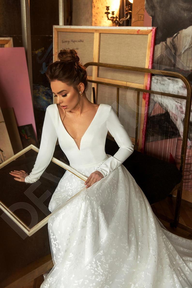 Robe de mariee vintage manga longa laço cetim vestido de casamento sexy decote em v profundo sem costas vestido de noiva para casamento - 4