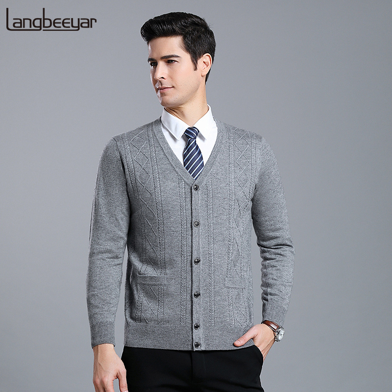 6% Wool Fashion Brand Sweater Men Cardigan V Neck Slim Fit Jumpers Knitwear Jacquard Winter Korean Style Casual Men Clothes