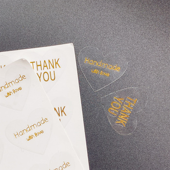 100pcs/lot Heart Design thank you Transparent PVC Hot Stamping Handmade with love Sticker Self Adhesive Kraft Seal Gift Label