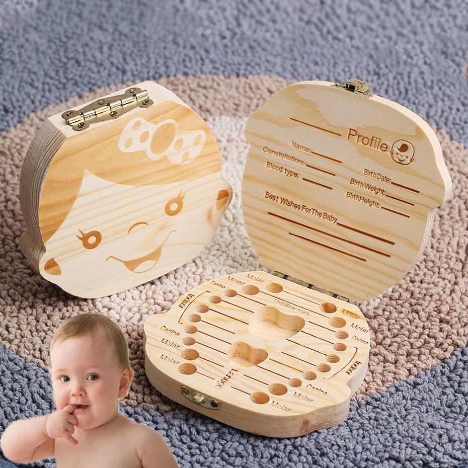Wooden Baby Kids Tooth Storage Box English/Spanish/French/Russian/Italian Teeth Umbilical Lanugo Organizer Gifts Keepsakes Save