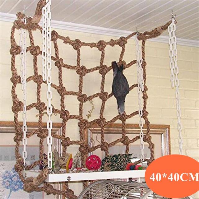 40*40cm Parrot Climbing Net Bird Toy Swing Rope Net Bird Stand Net Hammock With Hook Bird Hanging Climbing Chewing Biting Toys 1