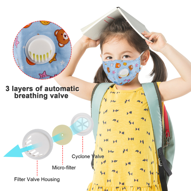 Kids Mouth Face Mask Antibacterial Breathable Valved Dust Mask Respirator Washable Reusable High Qualit 3